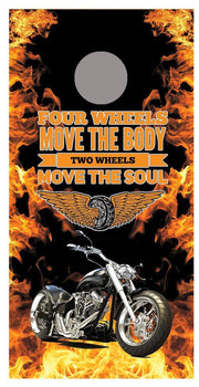 2 Wheels Move the Soul Motorcycle corn hole board decal wraps