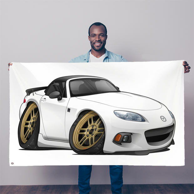 White Cartoon Car Hot Rod Sublimation Flag