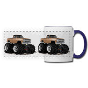 1986 Chevrolet 4x4 Pickup Truck Car Art Panoramic Mug - white/cobalt blue