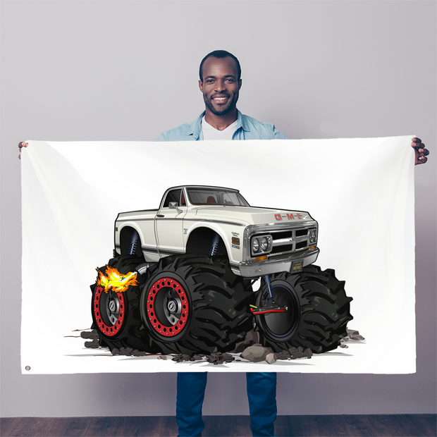 1972 GMC 4x4 Pickup Monster Truck with Rocks Car Art Sublimation Flag