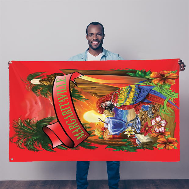 Margaritaville Red Parrot Sublimation Flag