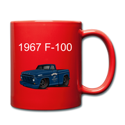 1967 Blue Ford F-100 Full Color Mug - red