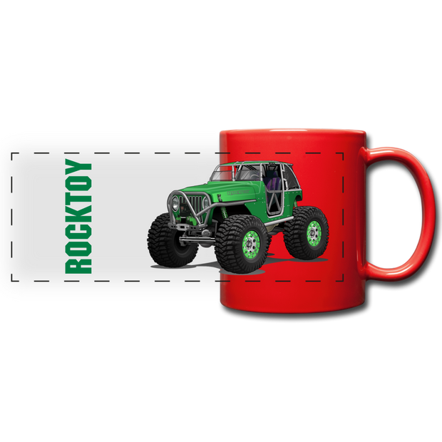 Green Jeep Rocktoy Rock Climber Car Art Full Color Panoramic Mug - red