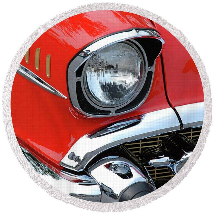50's Chevy - Round Beach Towel