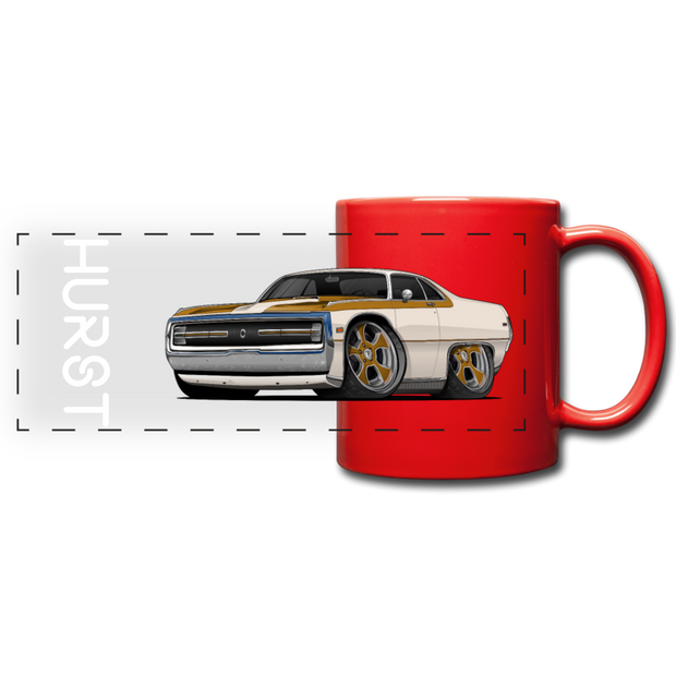 1970 Chrysler 300 Hurst Car Art Full Color Panoramic Mug - red
