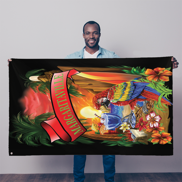 Margaritaville Black Parrot Beach Sublimation Flag