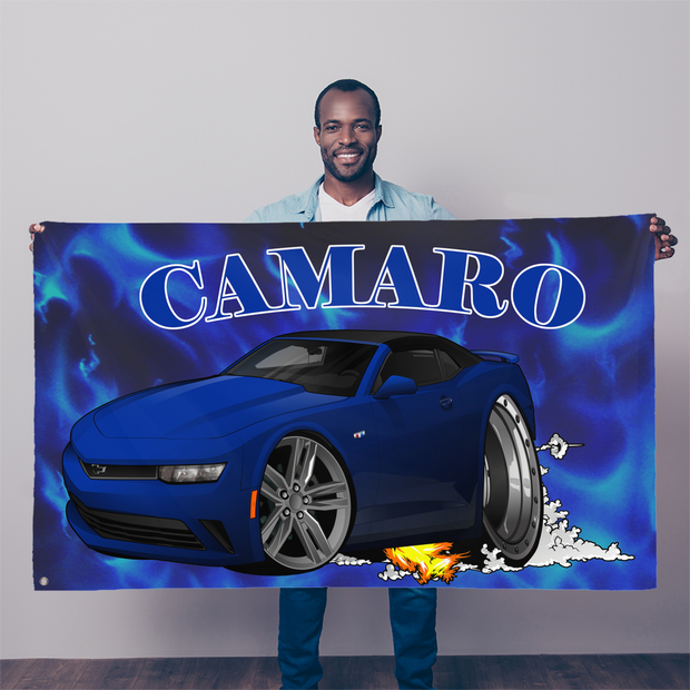 2018 Chevrolet Camaro Blue Convertible Smoke and Flames Sublimation Flag