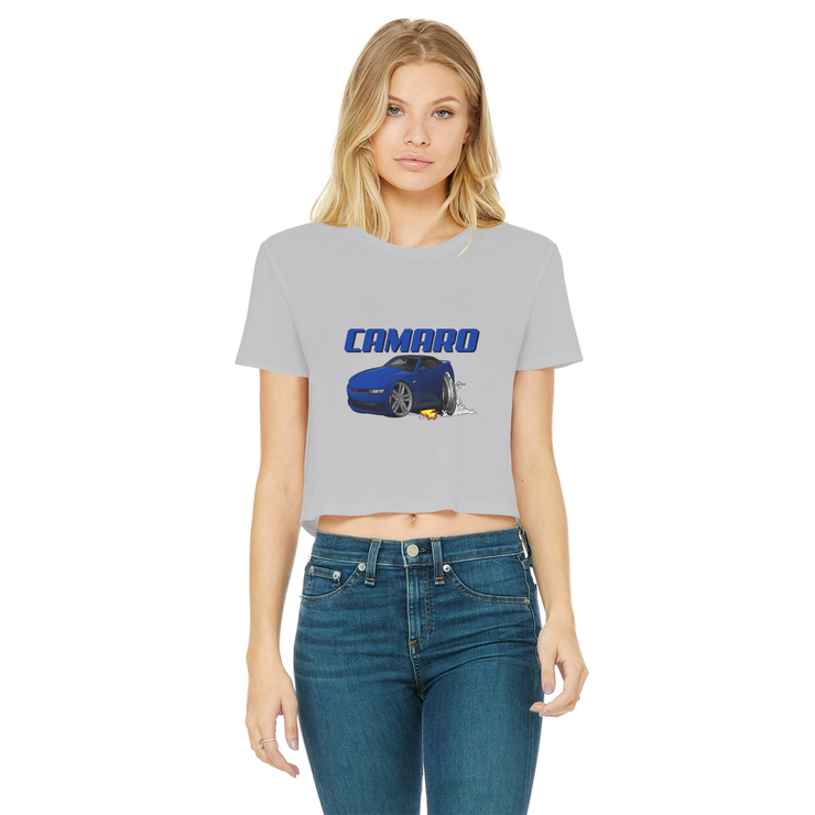 2018 Chevrolet Camaro Blue Convertible Smoke and Flames Classic Women's Cropped Raw Edge T-Shirt