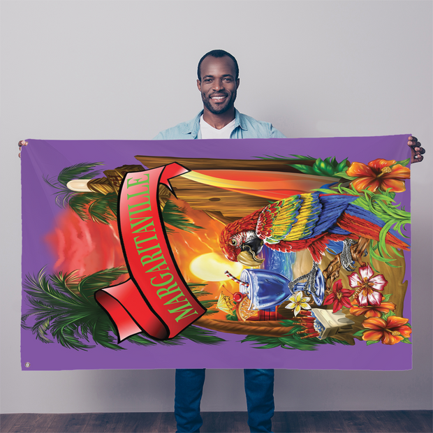 Margaritaville Purple Parrot Beach Sublimation Flag