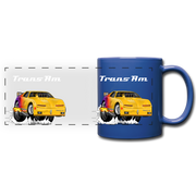 Yellow Firebird Trans Am Dragster Full Color Panoramic Mug - royal blue