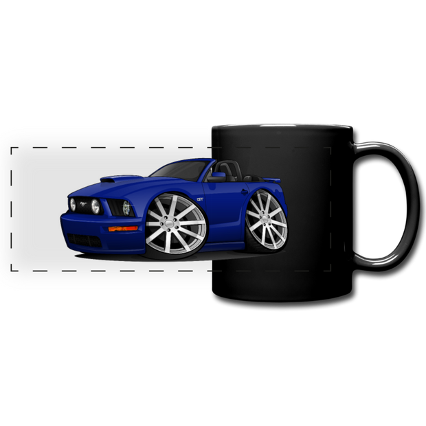 Ford Mustange Convertible Full Color Panoramic Mug - black