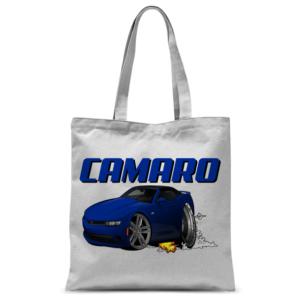 2018 Chevrolet Camaro Blue Convertible Smoke and Flames Classic Sublimation Tote Bag
