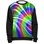 Rainbow Design Sweatshirt Cut and Sew All Over Print Black