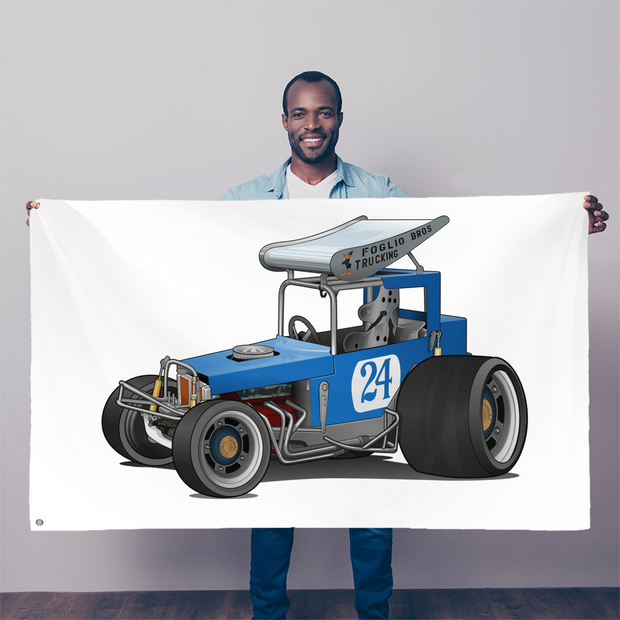 Blue Race Car Super Modified Sublimation Flag