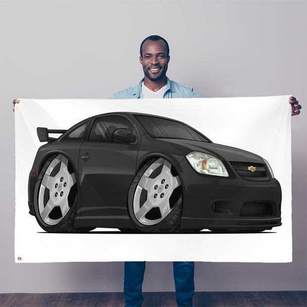 Black Cartoon Car Hot Rod Sublimation Flag