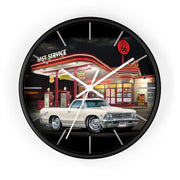 1966 Chevy El Camino Gas Station Route 66 Car Art Wall clock