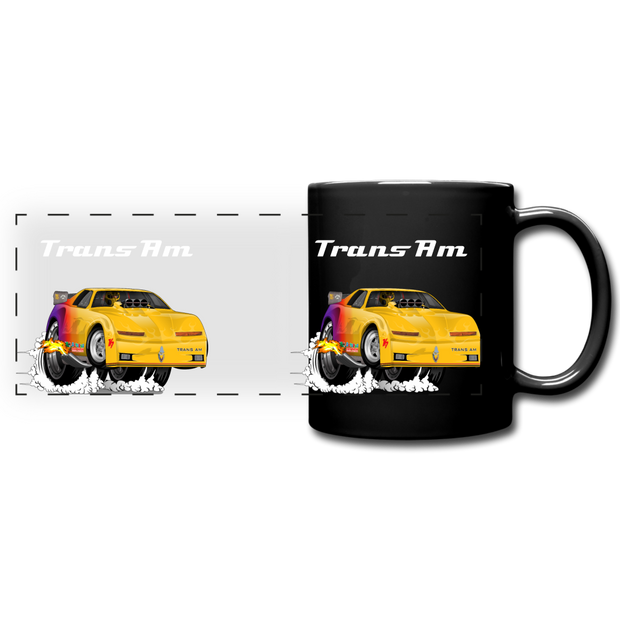 Yellow Firebird Trans Am Dragster Full Color Panoramic Mug - black