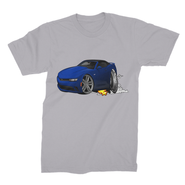 2018 Chevrolet Camaro Blue Convertible Smoke and Flames Premium Jersey Men's T-Shirt