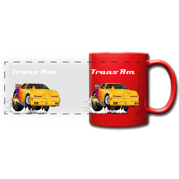Yellow Firebird Trans Am Dragster Full Color Panoramic Mug - red