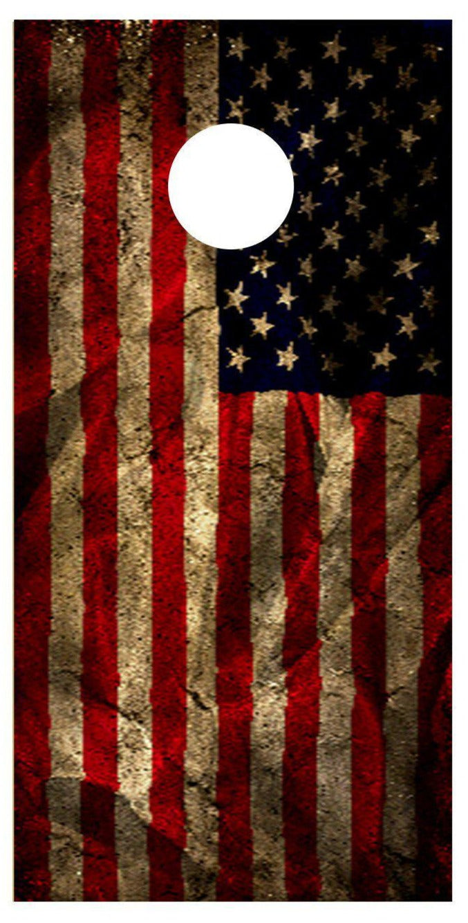 Cornhole Aged American Flag Style 2 Decal Set -  2 Decals - Let's Print Big