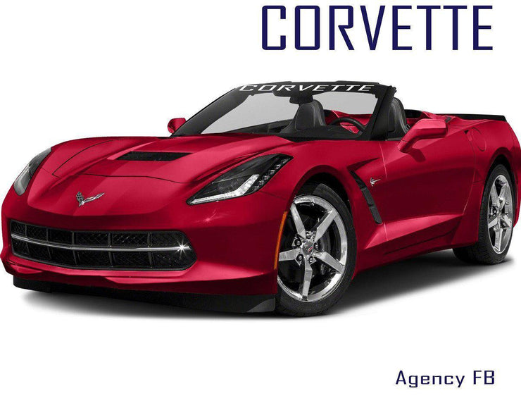 "Windshield Decal ""CORVETTE"" Banner Visor Sticker Choose Your Font - Let's Print Big"