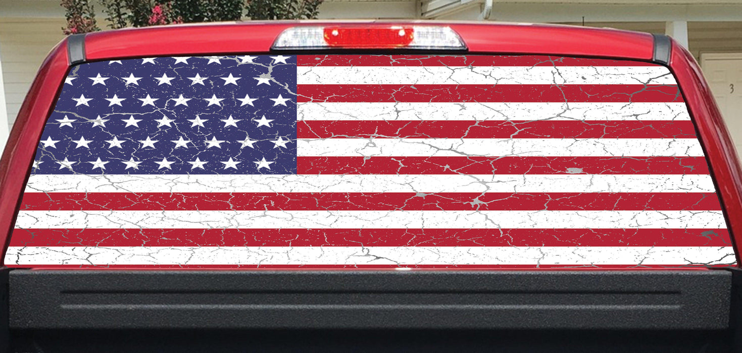 American flag crackle rear window decal lets print big
