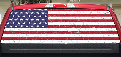 American Flag Crackle Rear Window Decal