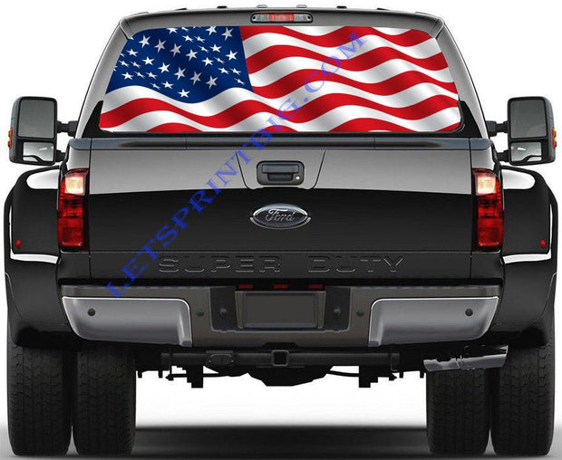 American Flag-Rear Window Decal-Graphic - Let's Print Big