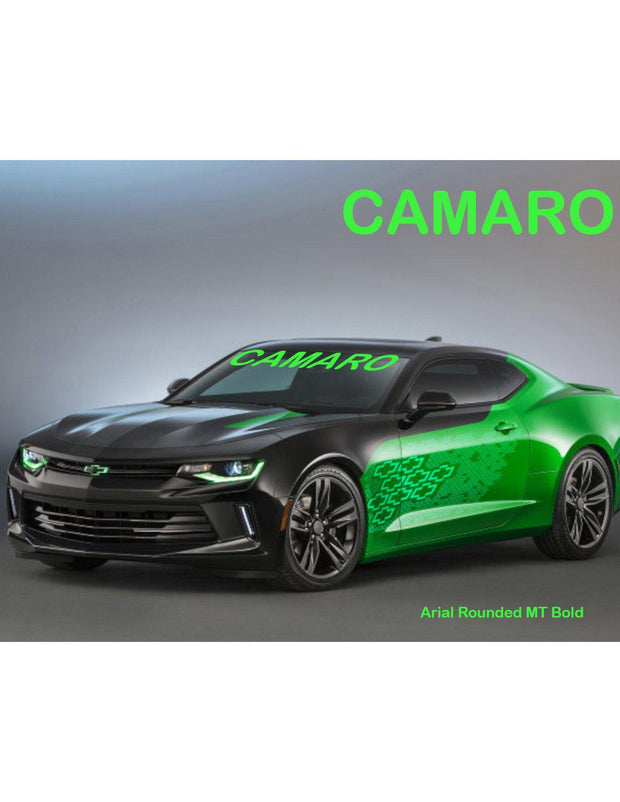 "Windshield Decal ""CAMARO"" Choose your Font and Color Sticker Banner - Let's Print Big"