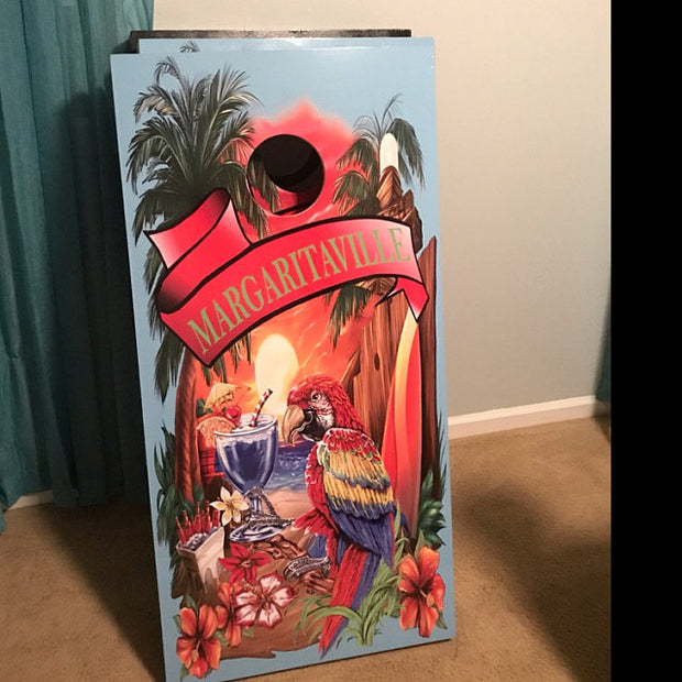 Margaritaville Cornhole Baby Blue Cornhole Board Decal Wraps