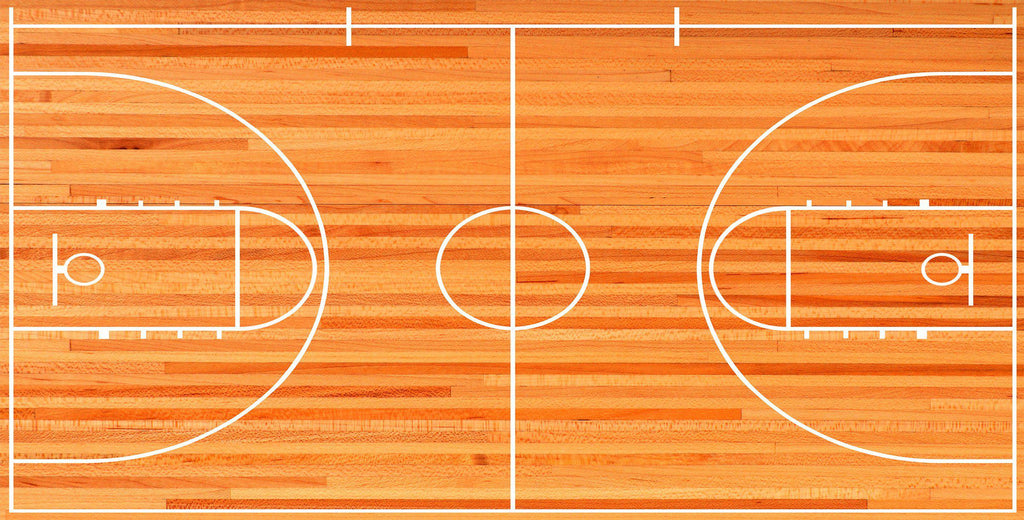 Man Cave Garage Combo Basketball Goal Wallpaper And Court Floor Graphics Let S Print Big