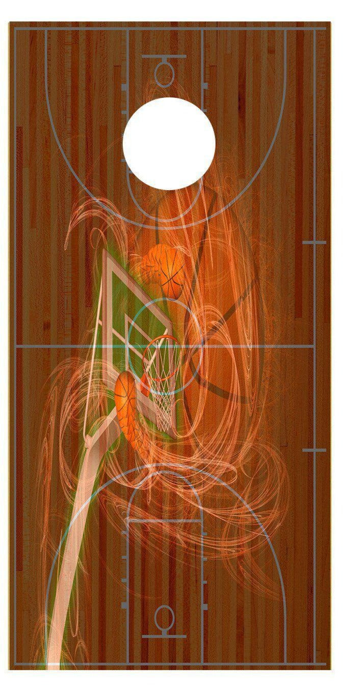 Basketball Court Goal Fade Cornhole Board Decal Set-2 Decals Bean Bag Toss - Let's Print Big