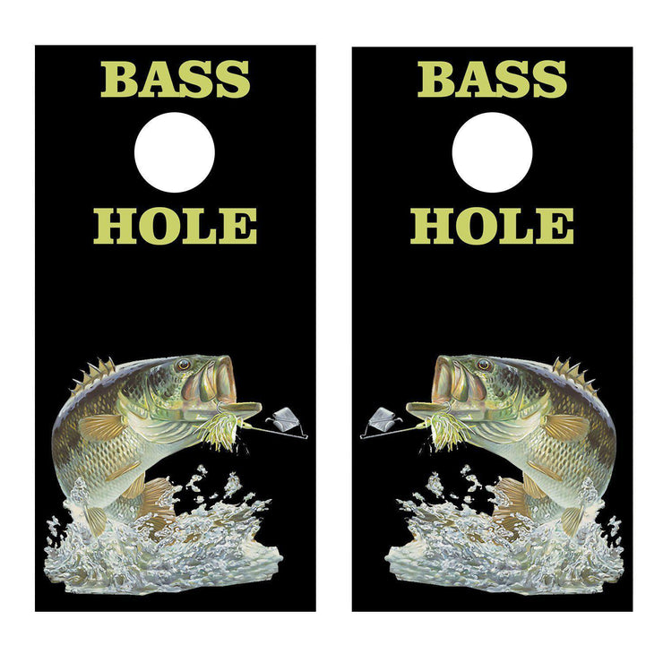 Bass Hole Fishing Black Cornhole Board Decal Set -  2 Decals Bean Bag Toss - Let's Print Big