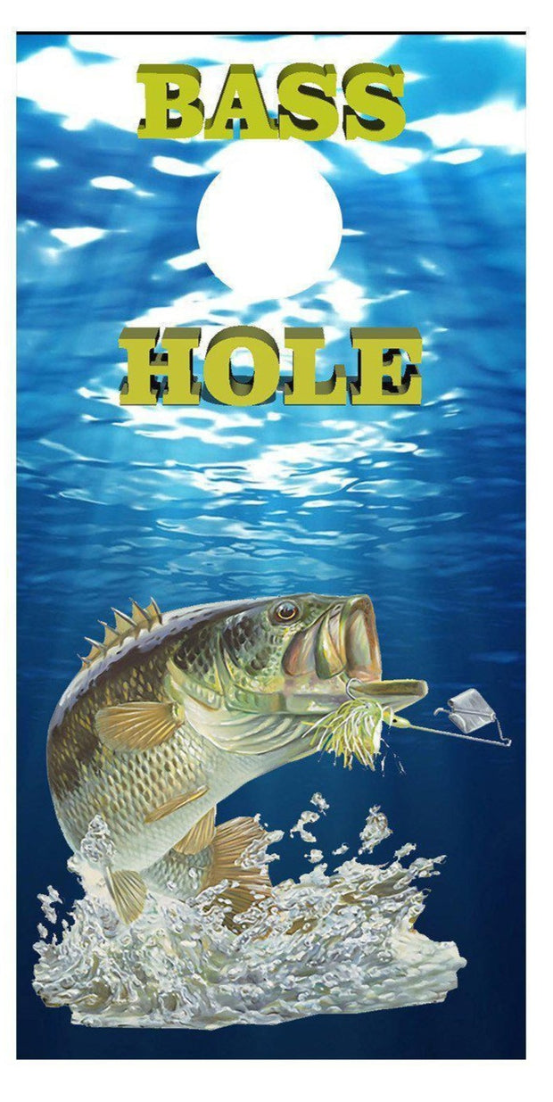 Bass Hole Water View Fishing Cornhole Board Decal Set - 2 Decals Bean Bag Toss - Let's Print Big