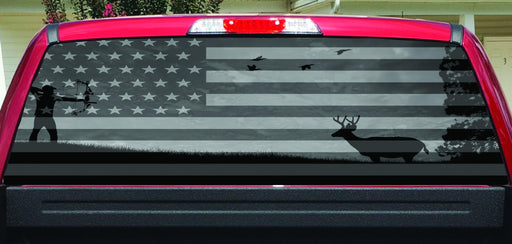 American Flag Deer Bow Hunter Black White Rear Window Decal