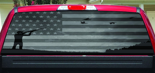 American Flag Duck Hunter Black White Rear Window Decal