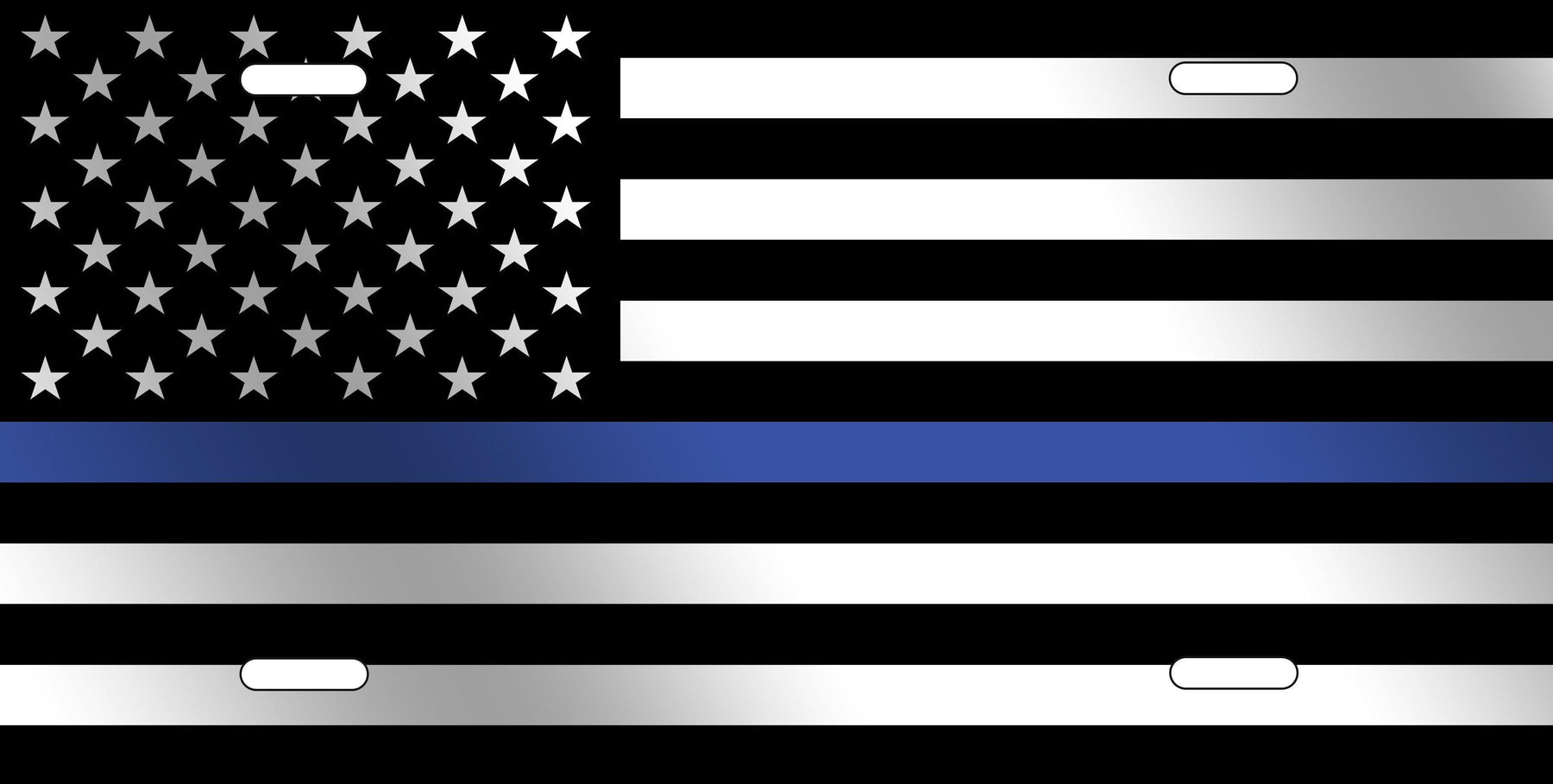 Thin Blue Line American Flag License Plate