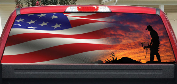 Bow Hunter and Flag Rear Window Decal
