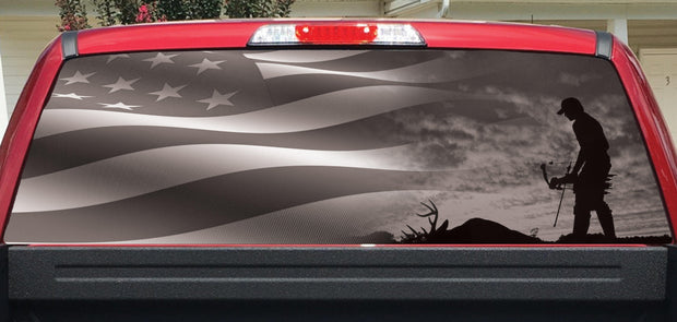Rear Window Decals Bow Hunter and Flag BW