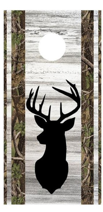 Buck Head Silhouette Cornhole Board Decal Wraps
