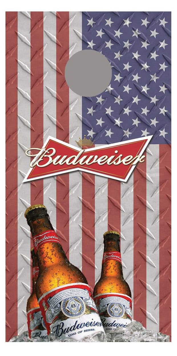 Budweiser Flag Bottle Design Version 2 corn hole board decal wraps