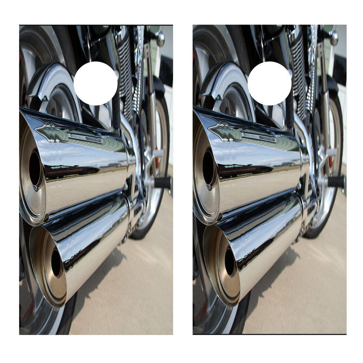 Motorcycle Chrome Pipes Cornhole Board Decal Set -  2 Decals Bean Bag Toss - Let's Print Big