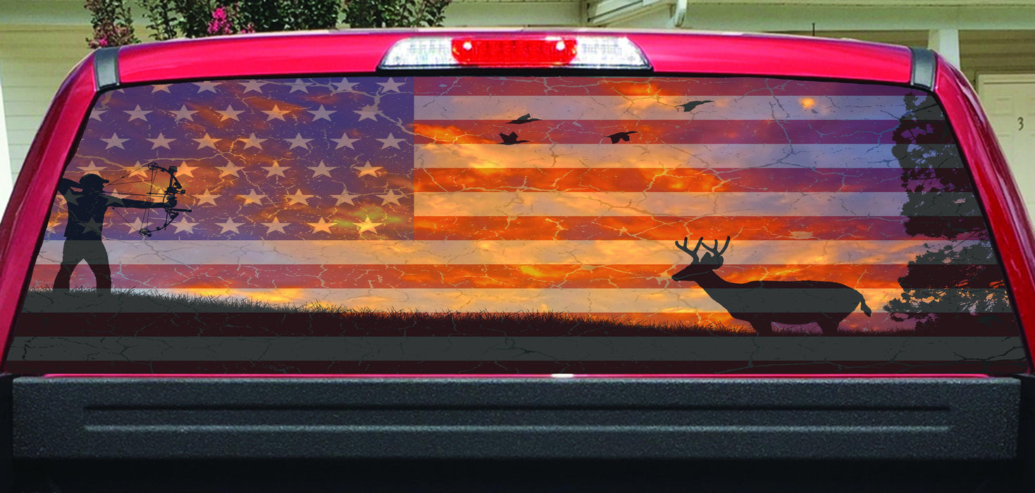 American flag deer bow hunter color rear window decal lets print big