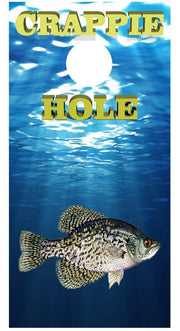Crappie Hole Fishing Cornhole Board Decal Set - 2 Decals Bean Bag Toss - Let's Print Big