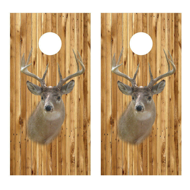 Wood background with Deer headCornhole Board Decal Set -  2 Decals - Let's Print Big