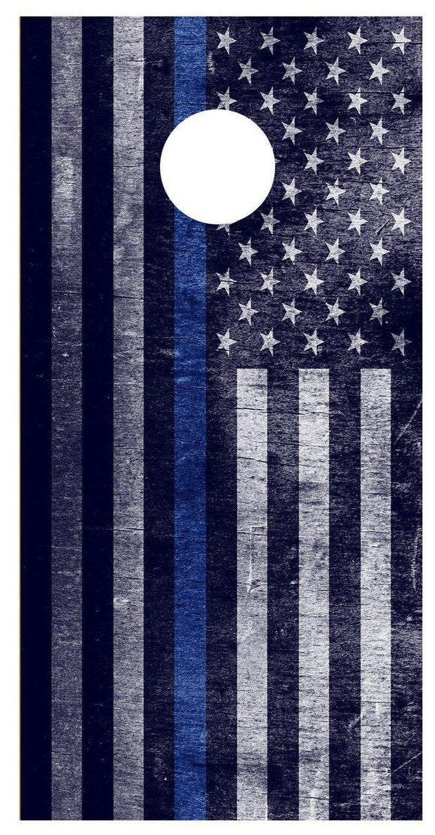 Thin Blue Line Flag Distressed American Cornhole Board Decal Wraps