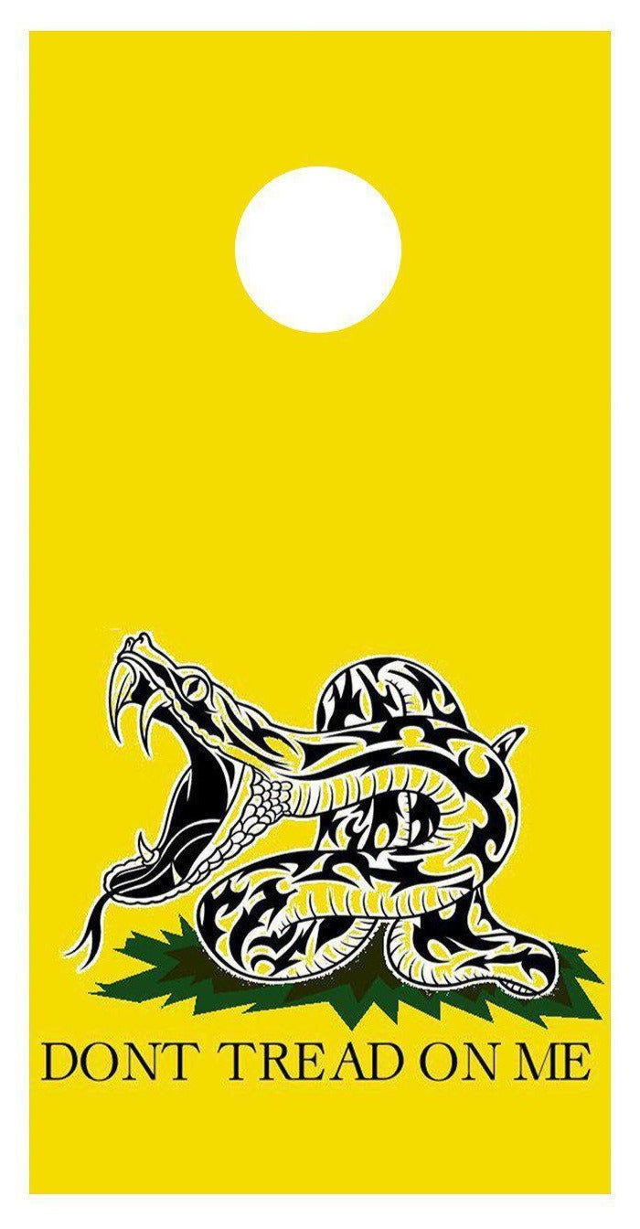Don't Tread On Me Yellow Cornhole Board Decal Set-2 Decals Bean Bag Toss - Let's Print Big