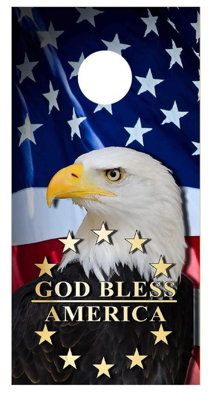 Cornhole Wraps Eagle Flag God Bless America Decals Wood Bean Bag Toss