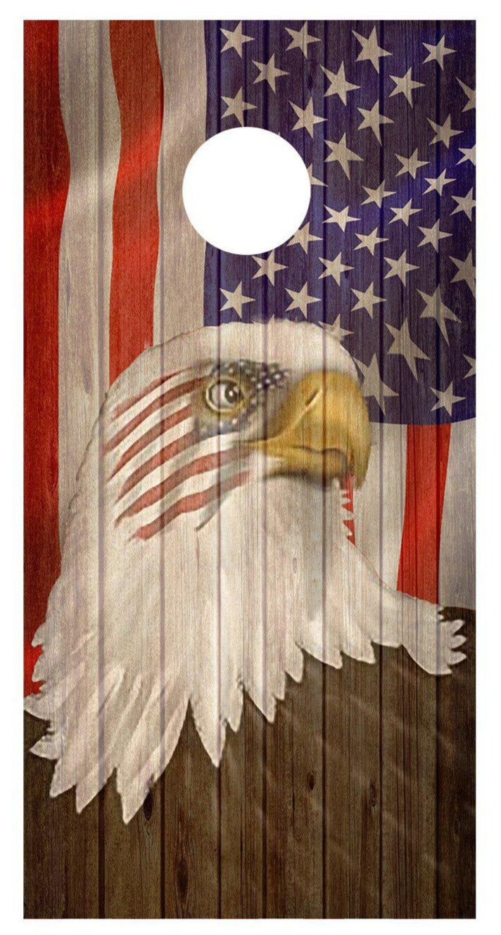 Cornhole Wraps Eagle Flag Wood Grain Decals Wood Bean Bag Toss