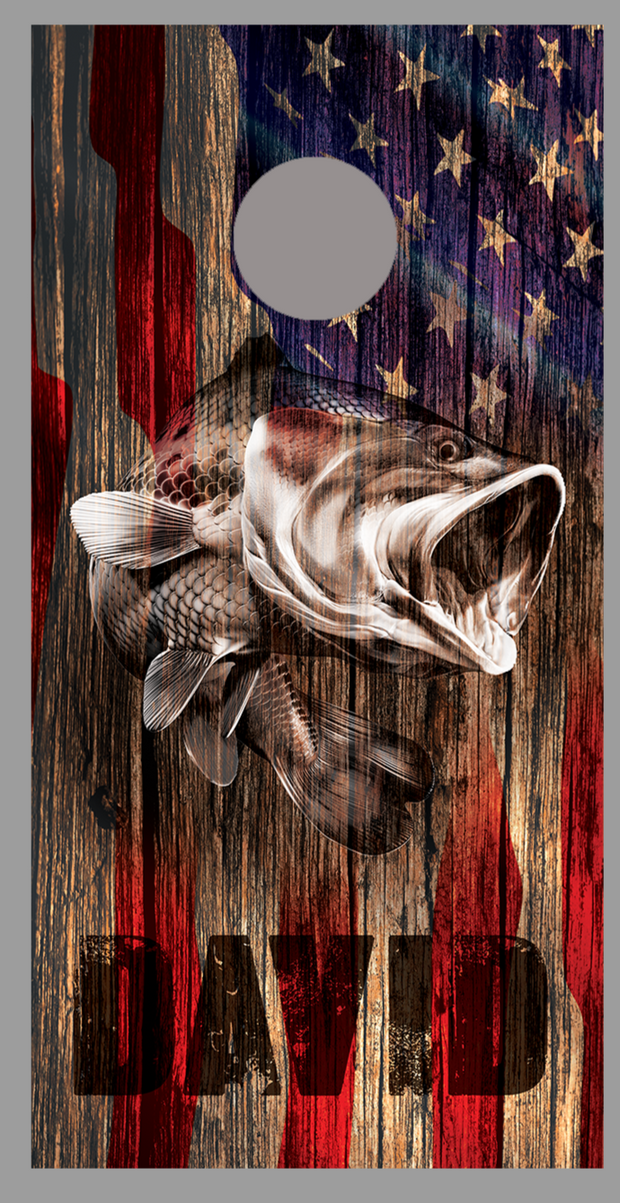 Customized Your Name Bass Fish Wood American Flag Cornhole Board Decal